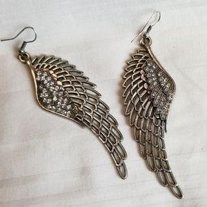 Silver Tone Rhinestone Wing Earrings